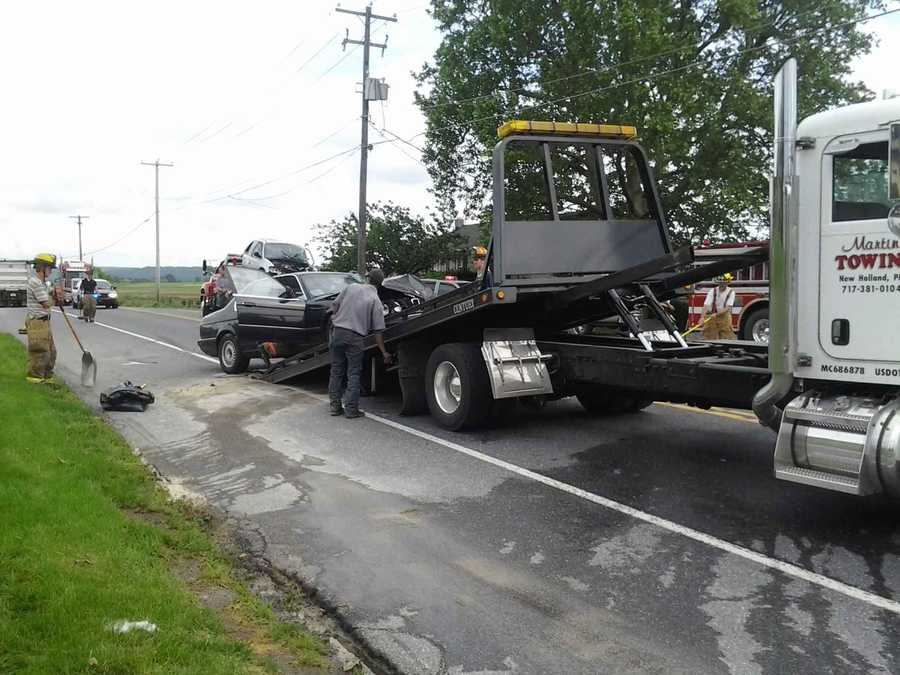 Three vehicles collided along Route 322 at Isaac lane Tuesday afternoon in Earl Township, Lancaster County.