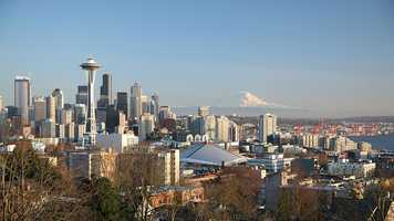 8. Seattle, Washington: Seattle is the birthplace of Jimi Hendrix and grunge (made popular by Nirvana), but its reputation lies on its heavy coffee consumption. The city's mild, temperate marine climate allows year-round outdoor recreation.