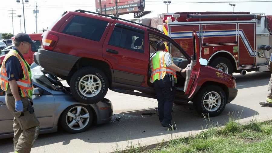 The Jeep driver was taken to the hospital for back pain.