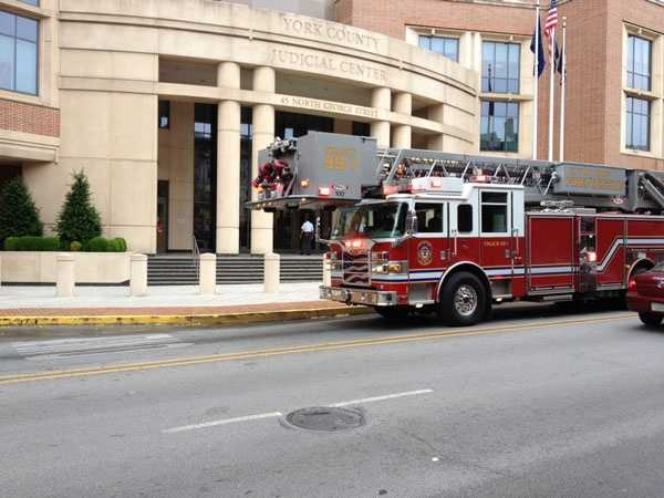 A gas leak prompted the evacuation of the York County judicial center Monday morning.