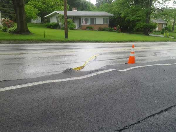 A water main break in York County buckled a road Monday morning and is creating traffic problems.