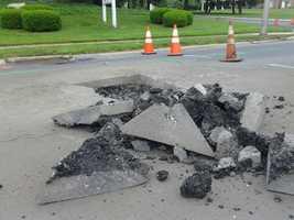 A sinkhole has shut down a road in Hershey, Dauphin County.