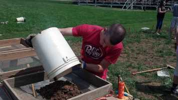 Pennsylvania State Museum staff and their teacher buried fake artifacts in the field a month ago.