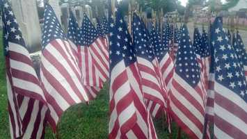 Don Bachman began planting flags at the Strasburg cemetery to remember those killed in Iraq. The first year he placed 40 flags.