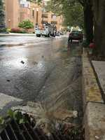 Water was leaking from a crack in a Lancaster street Wednesday morning.