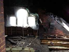 The Adams County building was struck about 7 p.m. Tuesday. The building's attic suffered the most damage.