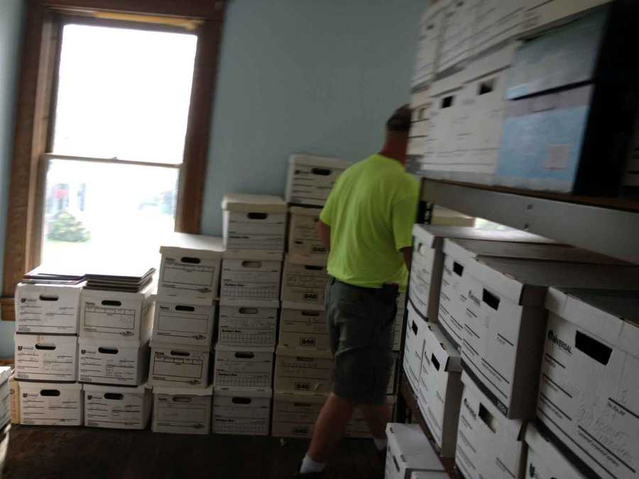 Crews are moving borough records from the damaged building.