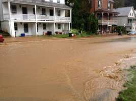 Heavy rains created some flooding on East Main Street in Railroad near Shrewsbury, York County.