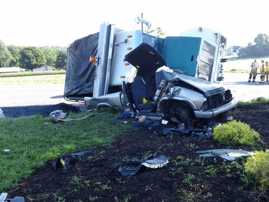 A pickup truck and dump truck collided Friday morning in West Hempfield Township, Lancaster County.