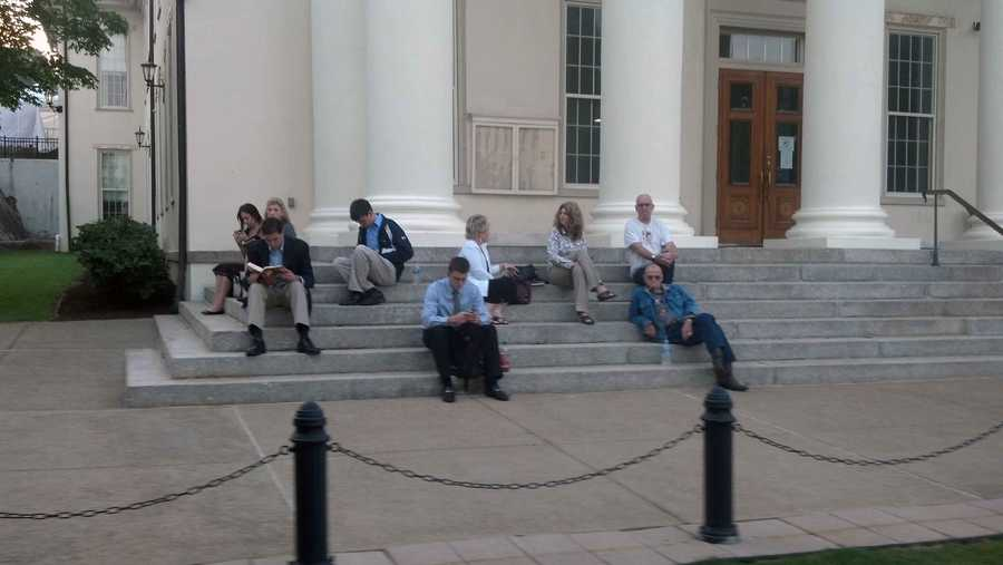 People wait outside the Centre County Courthouse in Bellefonte to get a seat inside the Jerry Sanduksy trial.