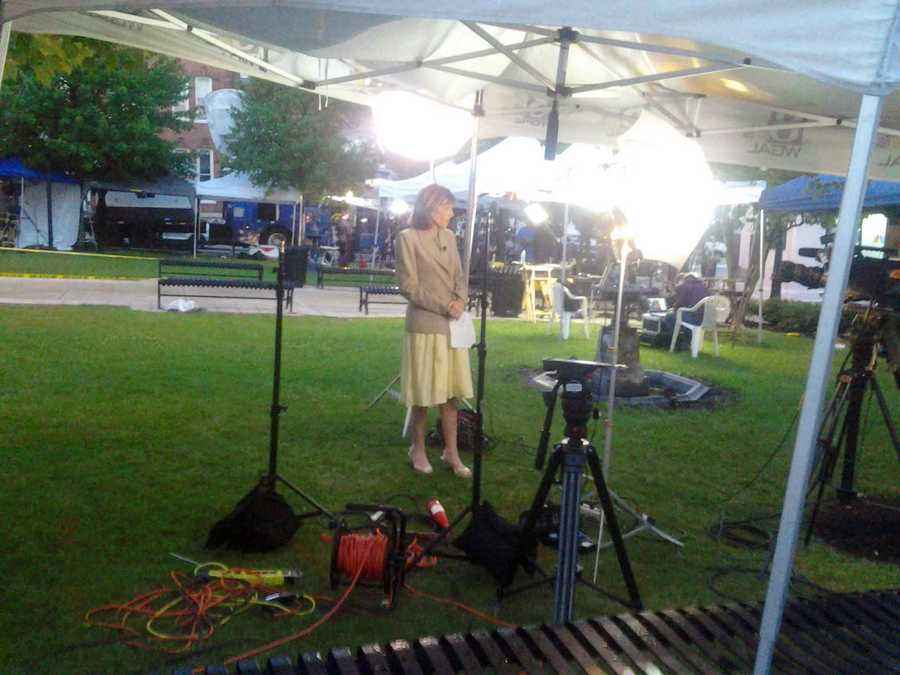 News 8's Barbara Barr takes a break between live shots outside the Centre County Courthouse in Bellefonte.
