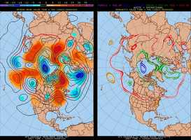 "The jet stream now shows a ""ridge"" in the east with hot air."
