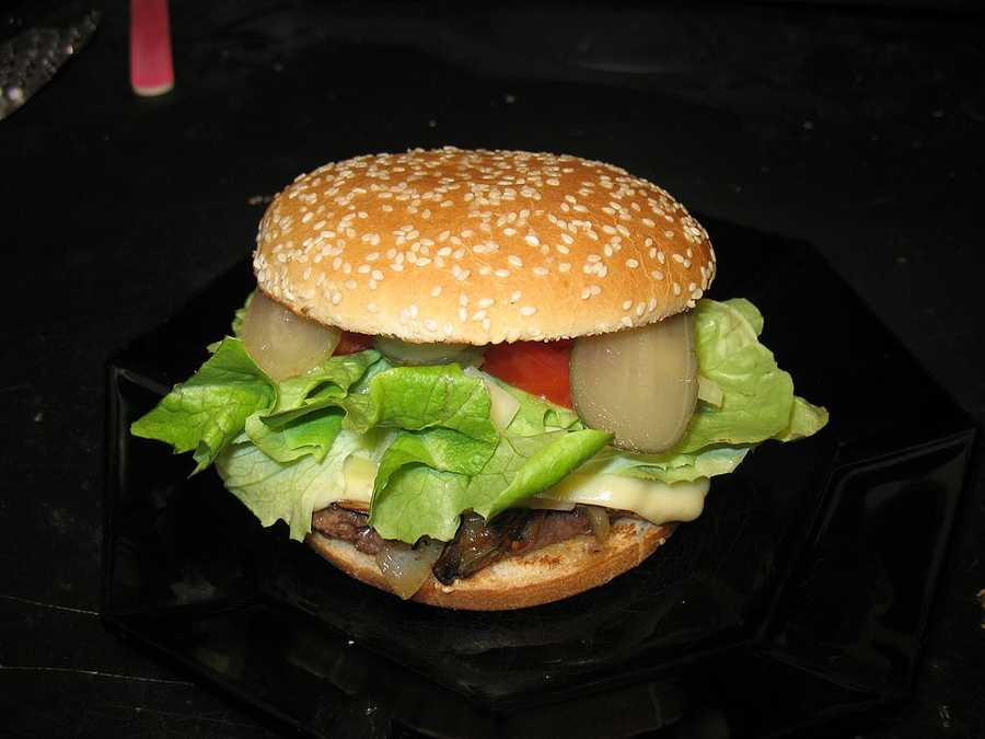 ICE CREAM CHEESEBURGER: If you go to the Florida State Fair, you'll find the ice cream cheeseburger -- a cheeseburger topped with lettuce, pickles, tomatoes, and a giant scoop of fried ice cream.