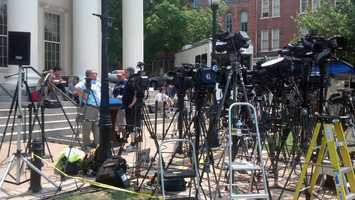 Media outside the Centre County Courthouse in Bellefonte.