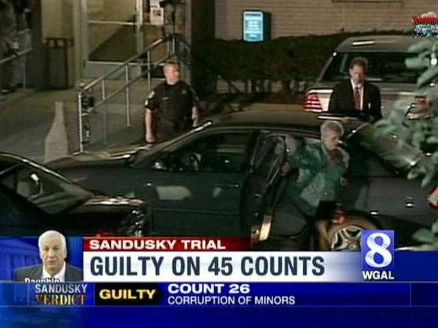 Jerry Sandusky's wife, Dottie, leaves a vehicle shortly before entering the courthouse with her husband.