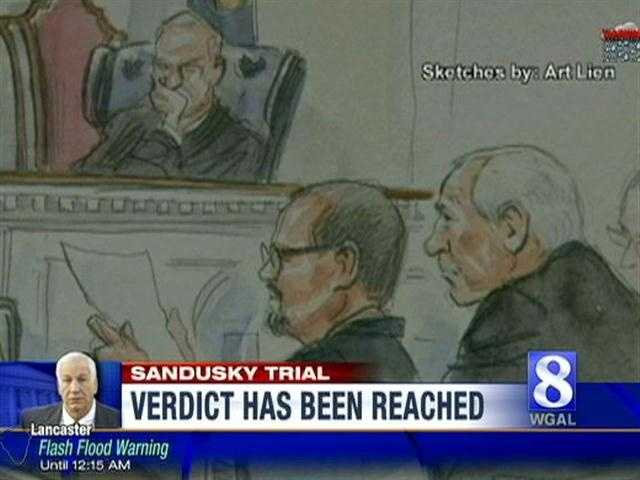 A court artist captures a sketch of Jerry Sandusky during the trial.