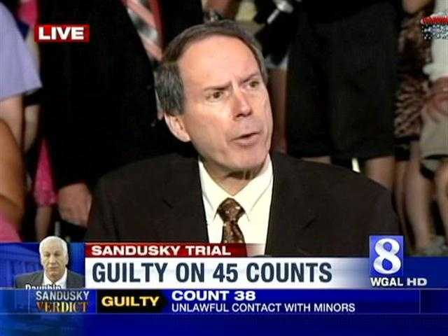 Jerry Sandusky's attorney JoeAmendola talks to the media after the guilty verdict is returned.