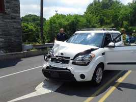 Two people were injured Monday morning in a two-car crash in Manor Township, Lancaster County.