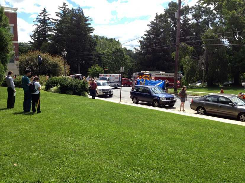 About 11:15 a.m., the fire alarm went off in Caputo Hall.A student dumped excess chemicals into a jar, which caused an explosion.