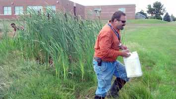 Adams County Conservation District workers placed mosquito traps and looked for larvae in preparation for the spraying.