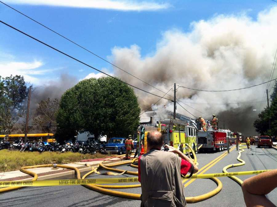 The blaze destroyed the Cycle Den motorcycle shop.