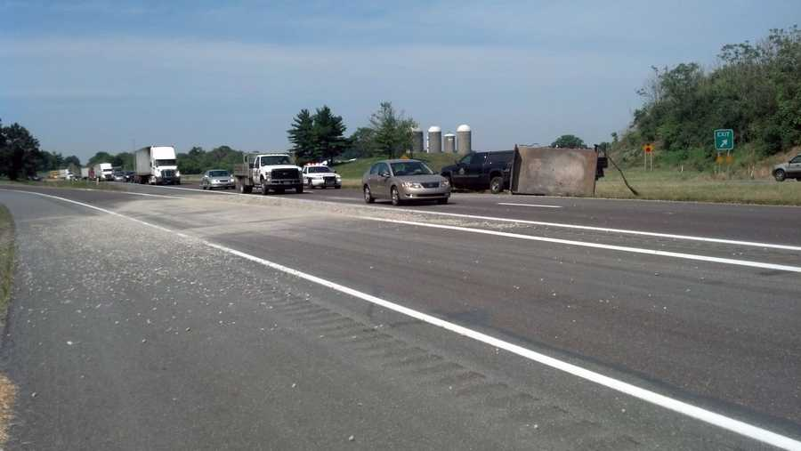 A pickup truck towing gravel hit a bump Tuesday morning and spilled the material on Route 222 northbound in Manheim Township, Lancaster County.