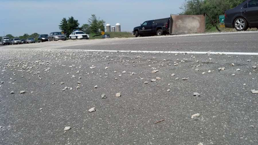 No one was hurt when the 3 tons of gravel spilled on Route 222 near the Oregon Pike exit.