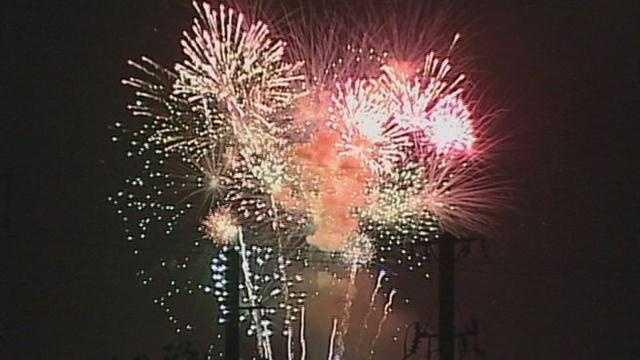 Fireworks light up the sky in York.