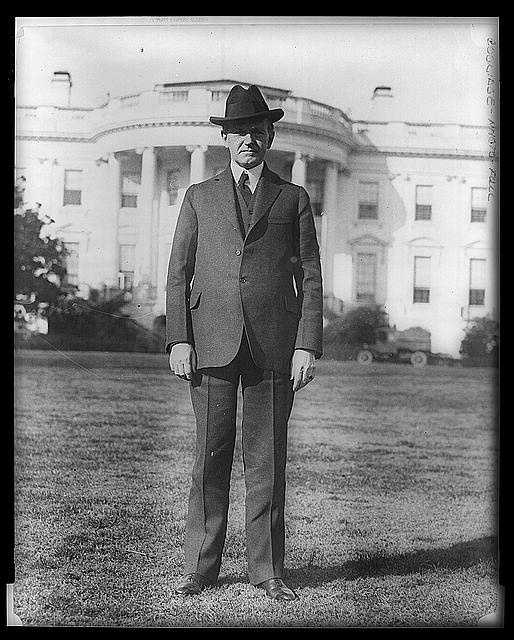 1923-1929: Calvin Coolidge demonstrated his determination to preserve the old moral and economic precepts amid the material prosperity, and called for isolation in foreign policy, and for tax cuts, economy, and limited aid to farmers.