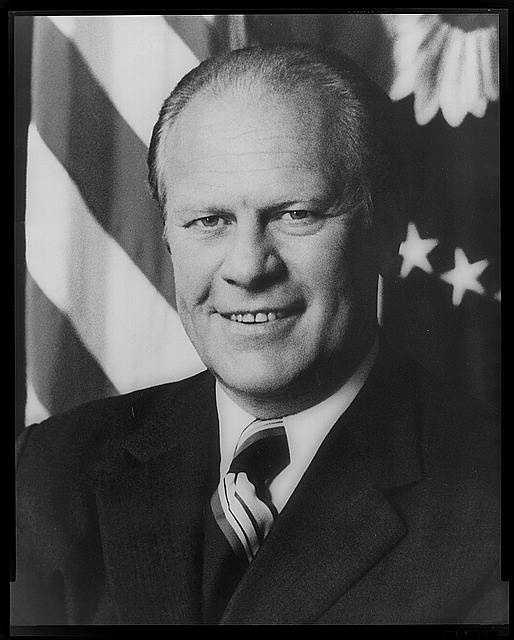 1974-1977: Gerald R. Ford shifted to measures aimed at stipulating the economy when recession became the Nation's most serious domestic problem. In foreign affairs, he helped persuade Israel and Egypt to accept an interim truce agreement by providing aid to the two countries.