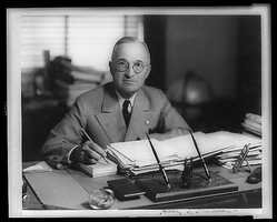 1945-1953: Harry S. Truman ordered atomic bombs to be dropped on Hiroshima and Nagasaki soon after V-E Day, and witnessed the signing of the charter of the United Nations. He enunciated the Truman Doctrine to aid Greece and Turkey when the Soviet Union threatened to take over.