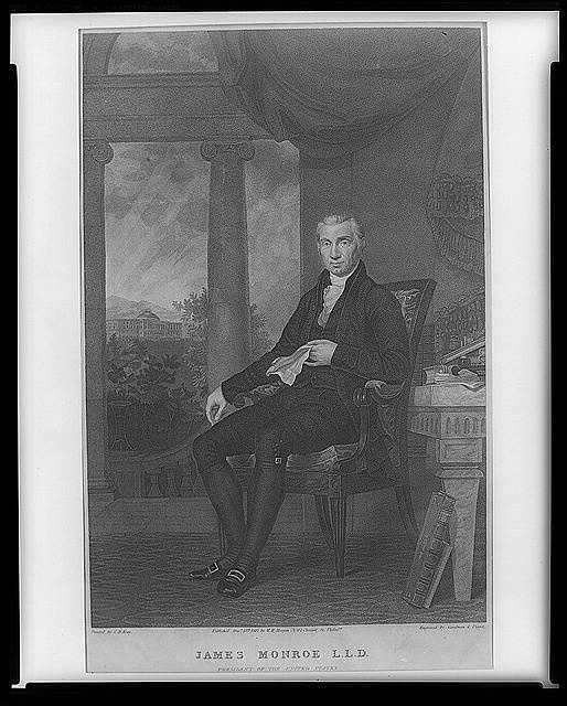 1817-1825: James Monroe proclaimed the fundamental policy that bears his name, and amended the Missouri Compromise bill to bar slavery north and west of Missouri.