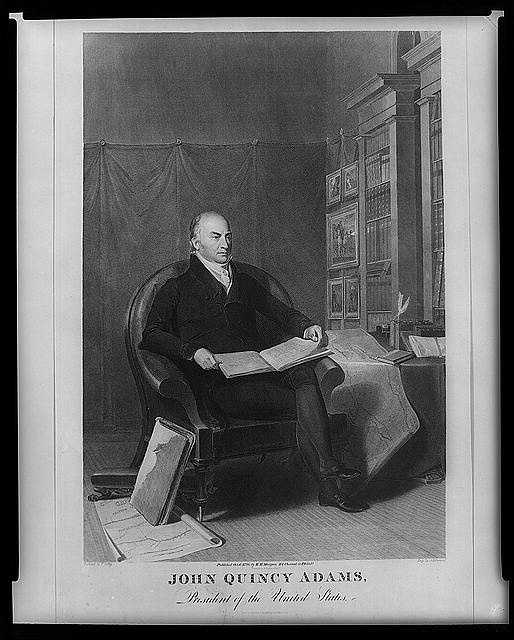 1825-1829: John Quincy Adams was the first son of a former president to take office, and in many respects he paralleled the career, temperament, and viewpoints of his father. Adams urged the U.S. to take a lead in the arts and sciences through the establishment of a national university.