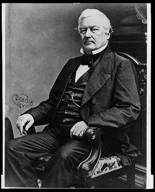 1850-1853: Millard Fillmore's Presidency brought an abrupt political shift in the administration, siding with the Whigs. As the Whigs disintegrated late in his term, Fillmore refused to join the Republican party.