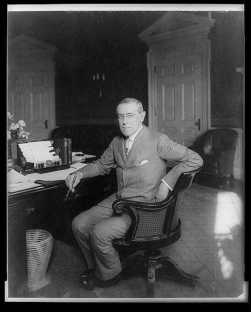 1913-1921: Woodrow Wilson maneuvered through Congress the Underwood Act, the Federal Reserve Act, and established a Federal Trade Commission. He also pushed a new law prohibited child labor and another to limit railroad workers to an eight-hour day. He declared war on Germany during World War I.