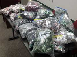 The seized drugs are mostly synthetic marijuana, but some bath salts were also seized.