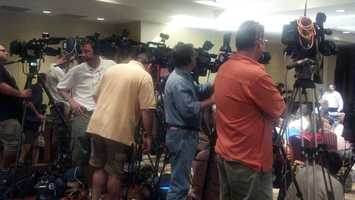 Media gather for the Penn State news conference.