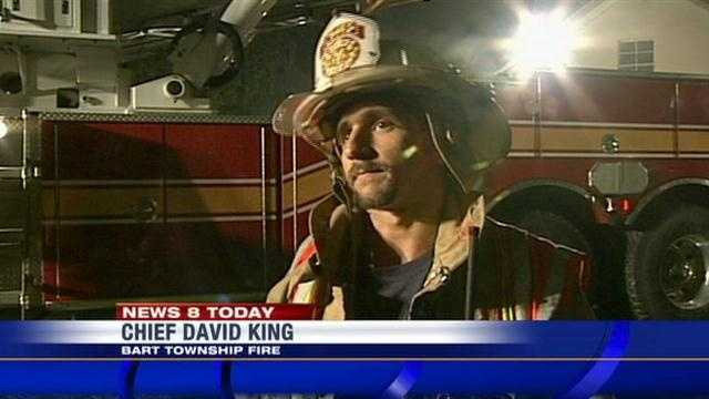 """""""Homeowners say they heard a lightning strike. So, we're going with lightning strike,"""" Bart Township Fire Chief David King said."""