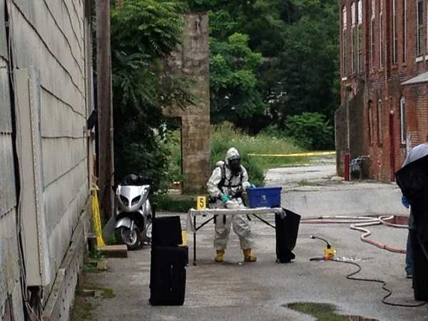 Officials evacuated about 7 residents in the building and called in a state police special response team out of Allentown to dismantle the lab. That team, wearing protective gear, entered the building around 11:30 a.m. Inside, they said they found a 20-pound tank of anhydrous ammonia, muriatic acid, ephedrine, broken-down battery components, lighter fluid, butane, tubing, glassware and strainers.