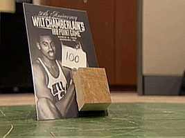 "The Philadelphia 76ers celebrated the 50th anniversary of Wilt's 100-point game by giving every fan in attendance of the March 2, 2012 game versus the Warriors a specially mounted 2""x2"" piece of the original court."