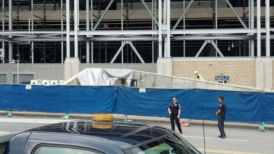 Security standing in front of Beaver Stadium.