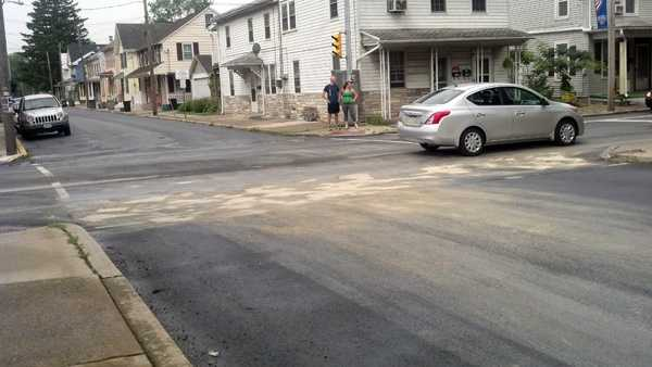 The fluid leaked along North Main Street from Route 772 to Gramby Street.