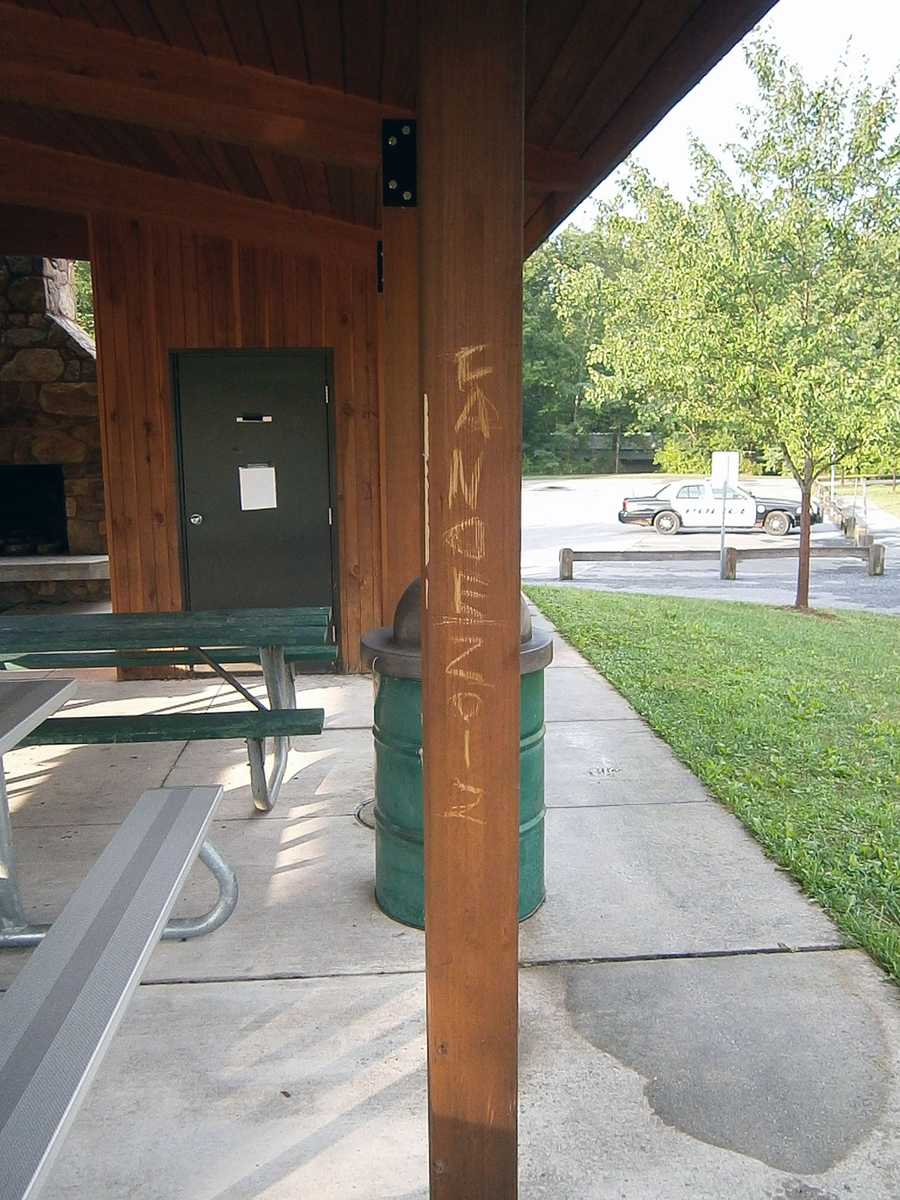 Vandalism was spotted in Simpson Park in Upper Allen Township, Cumberland County, on Friday.