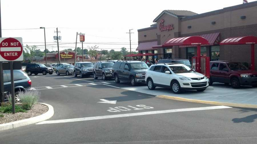 Cars were backed up in the drive-thru. Some of the drive-thru traffic was backed up into Route 30.