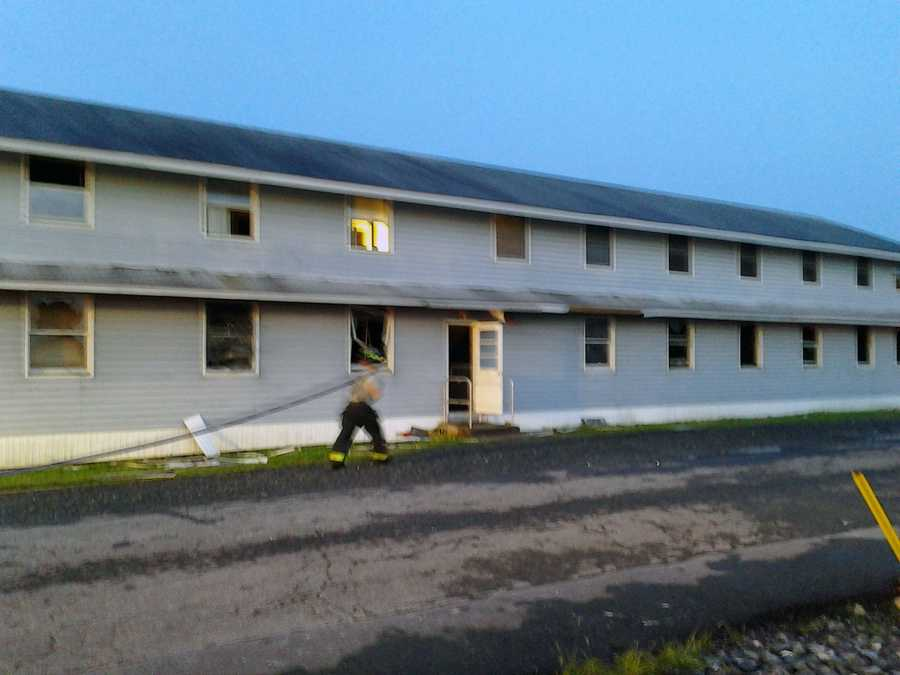 The housing unit was not occupied at the time.Officials said the building will be demolished.