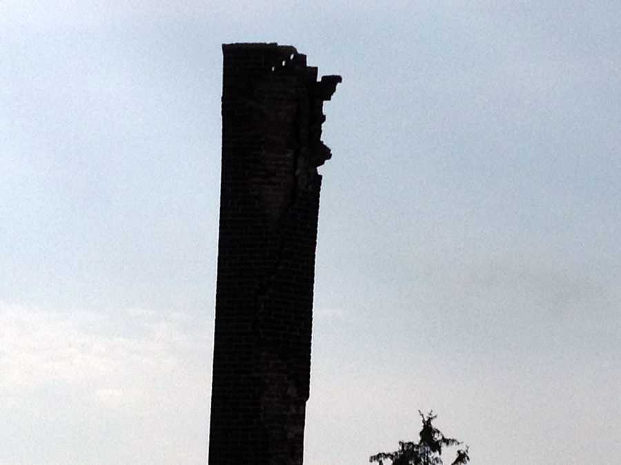 The chimney on the Hanover Market House was struck by lightning Tuesday evening.