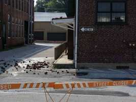 The strike hit about 7:30 p.m. Tuesday and caused exterior damage to the East Chestnut Street building.