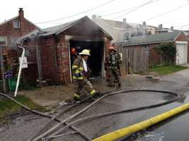 A detached garage in York was heavily damaged by fire Tuesday morning.