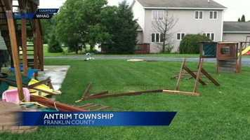 "Severe storms hit parts of the Susquehanna Valley damaging homes and downing several trees. Officials said ""very high winds"" blew through the 12000 block of Williamsport Pike in Antrim Township, knocking down trees, shingles and even a children's jungle gym."
