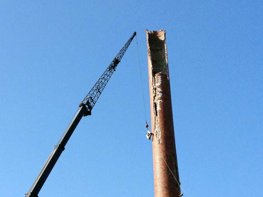 The old Foust Distillery smoke stack in Springfield Township was hit by lightning earlier this month.